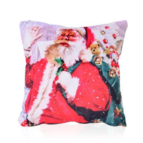 White, Red and Multi Colour Santa Theme LED Cushion (Size 40X40 Cm)