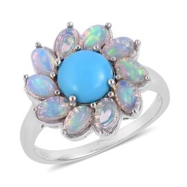 Arizona Sleeping Beauty Turquoise (Rnd 1.50 Ct), Ethiopian Welo Opal Flower Ring in Rhodium Plated Sterling Silver 3.250 Ct. Silver wt 5.40 Gms.