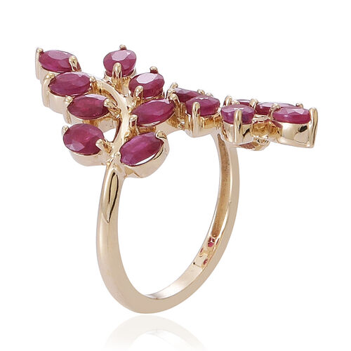 9K Y Gold Burmese Ruby (Ovl) Leaf Crossover Ring 3.500 Ct.