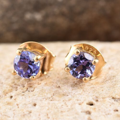 Tanzanite 0.50 Ct Silver Solitaire Stud Earrings  in Gold Overlay (with Push Back)