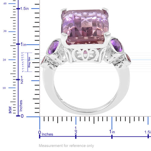 Anahi Ametrine (Oct 13.50 Ct), Amethyst and Madeira Citrine Ring in Rhodium Plated Sterling Silver 14.275 Ct.