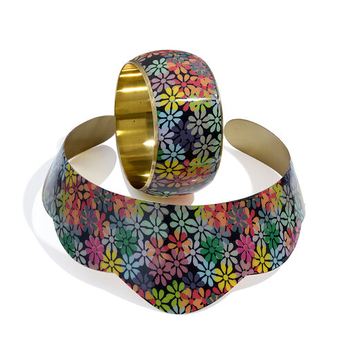 Multi Floral Printed Statement Collar Necklace and Bangle Set