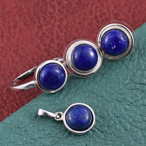 Lapis Lazuli (Rnd) Solitaire Ring, Pendant and Stud Earrings in ION Plated Platinum Bond 10.000 Ct.