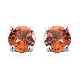 ILIANA 18K White Gold 1.15 Ct AAA Orange Sapphire Solitaire Stud Earrings (with Screw Back)