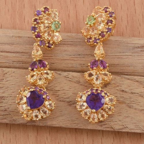 GP Amethyst (Hrt), Rhodolite Garnet, Hebei Peridot and Multi Gem Stone Earrings (with Push Back) in 14K Gold Overlay Sterling Silver 9.500 Ct. Silver wt 8.00 Gms.