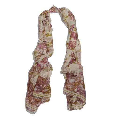 100% Mulberry Silk Multi Colour Floral Pattern Cream Colour Scarf (Size 175x100 Cm)