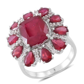 Red Carpet Collection- African Ruby (Cush 7.90 Ct), Natural Cambodian White Zircon Ring in Rhodium Plated Sterling Silver 14.000 Ct.