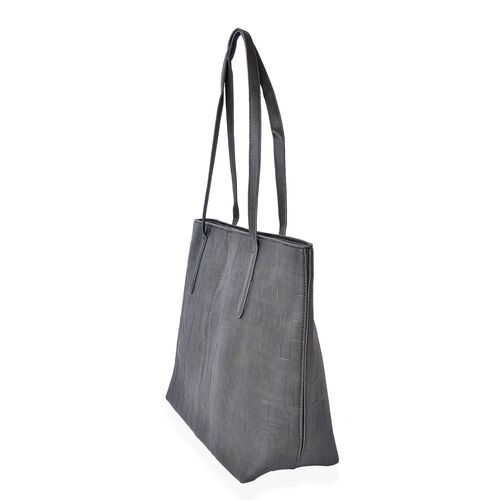 Italian Designer Inspired Embossed Dark Olive Colour Tote Bag (Size 45x33x28x12 Cm)