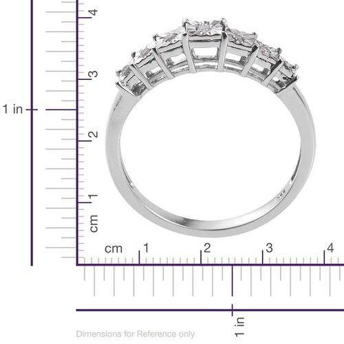 Diamond (Rnd) 7 Stone Ring in Platinum Overlay Sterling Silver 0.100 Ct.