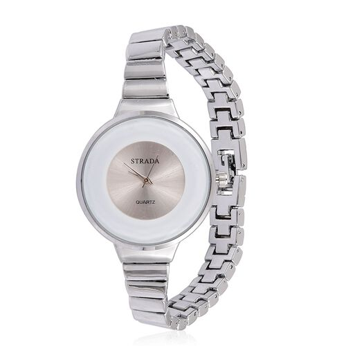 STRADA Japanese Movement Silver Sunshine Dial Water Resistant Watch in Silver Tone with Stainless Steel Back and Chain Strap