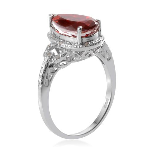 Ruby Quartz (Pear 3.25 Ct), Diamond Ring in Platinum Overlay Sterling Silver 3.300 Ct.