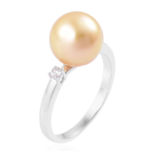 Rare Size AAAA South Sea Golden Pearl (Rnd 10-10.5mm), White Zircon Ring in Platinum Overlay Sterling Silver