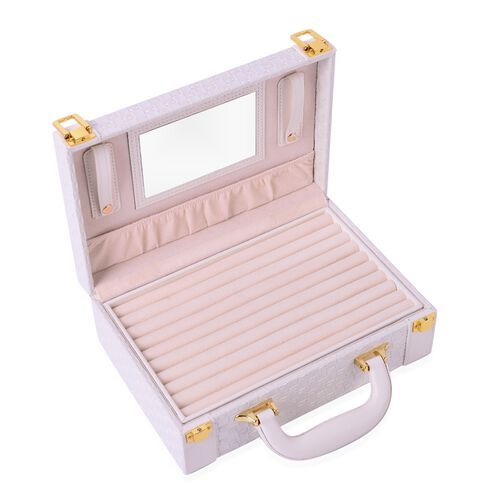 White Colour Woven Pattern Breifcase Design Double Layer Jewellery Box with Mirror Inside (Size 27.5X18.5X9 Cm)