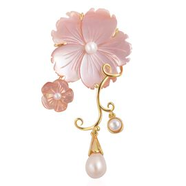 Jardin Collection-Pink Mother of Pearl and Fresh Water Pearl Flower Pendant in Yellow Gold Overlay Sterling Silver