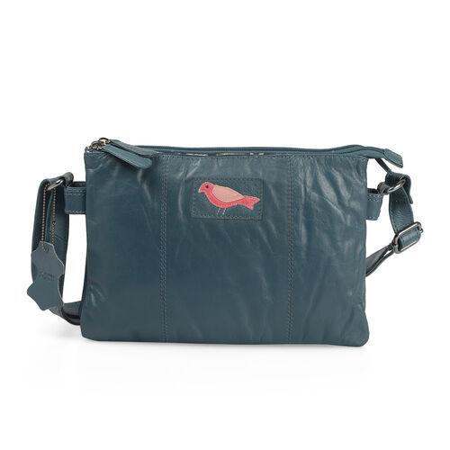 100% Genuine Leather RFID Blocker Teal Colour Bird Design Sling Bag with Adjustable Shoulder Strap (Size 29X20 Cm)