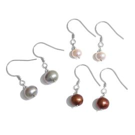 Set of 3 - Fresh Water Silver Grey, Brown and White Pearl Hook Earrings in Platinum Overlay Sterling Silver