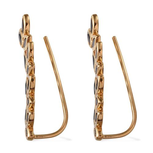 Boi Ploi Black Spinel (Mrq) Climber Earrings in 14K Gold Overlay Sterling Silver 2.250 Ct.