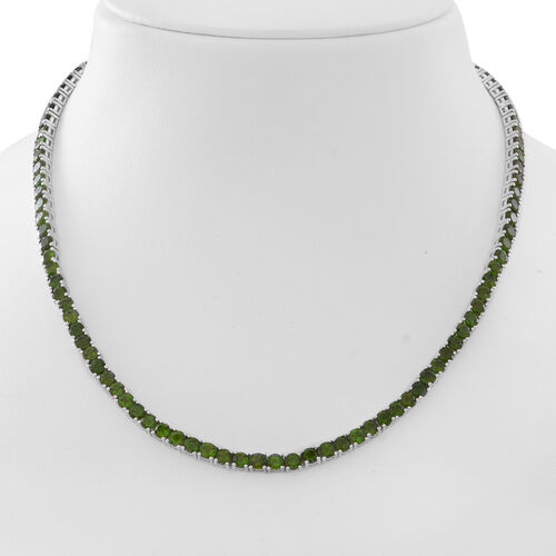 Exclusive Edition- AAA Russian Diopside (Rnd) Necklace (Size 17.5) in Rhodium Plated Sterling Silver 28.000 Ct. Silver Wt 26.50 Gms Number of Gemstone 103