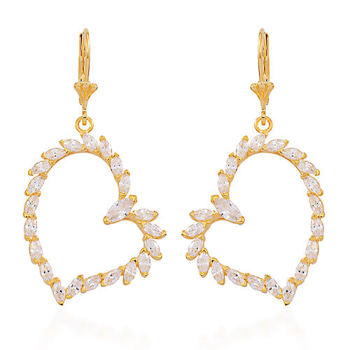 ELANZA AAA Simulated Diamond (Mrq) Heart Lever Back Earrings in 14K Gold Overlay Sterling Silver.Silver Wt 6.50 Gms
