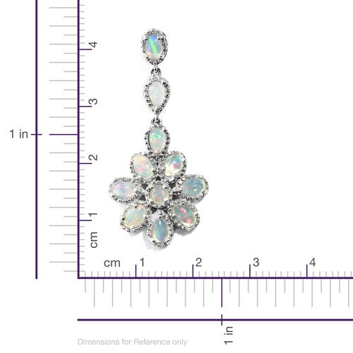 Designer Inspired- Ethiopian Welo Opal (Rnd) Floral Earrings (with Push Back) in Platinum Overlay Sterling Silver 3.250 Ct. Silver wt. 8.02 Gms.