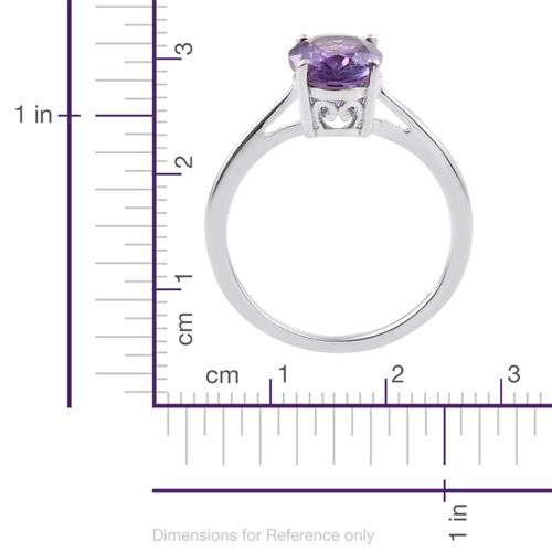 Amethyst 1.50 Ct Silver Solitaire Ring in Platinum Overlay
