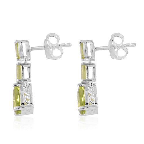 Hebei Peridot (Pear) Earrings (with Push Back) in Sterling Silver 2.000 Ct.