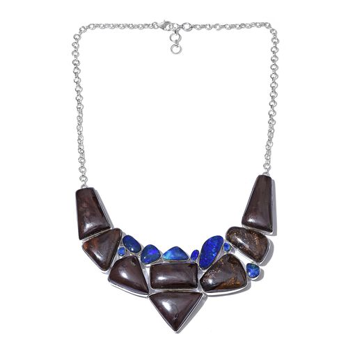 One Off A Kind- Boulder Opal Rock and Opal Double Necklace (Size 18 with 1 inch Extender) in Sterling Silver 293.401 Ct. Silver wt 33.52 Gms.