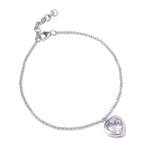 Rose Quartz (Hrt) Bracelet (Size 7.5 with 1 inch Extender) in Platinum Overlay Sterling Silver 3.250 Ct.