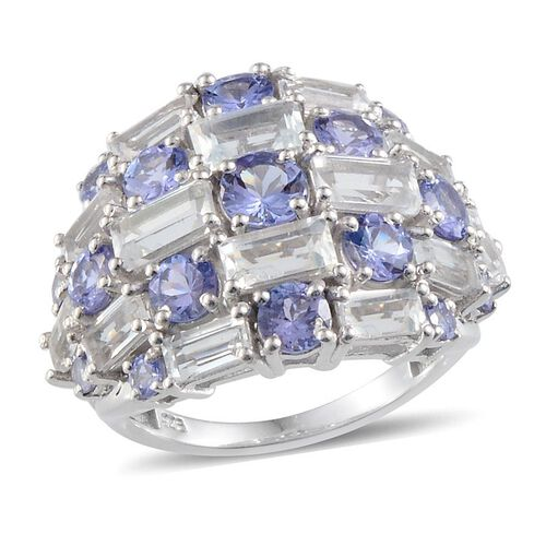 Tanzanite (Rnd), White Topaz Ring in Platinum Overlay Sterling Silver 7.250 Ct.