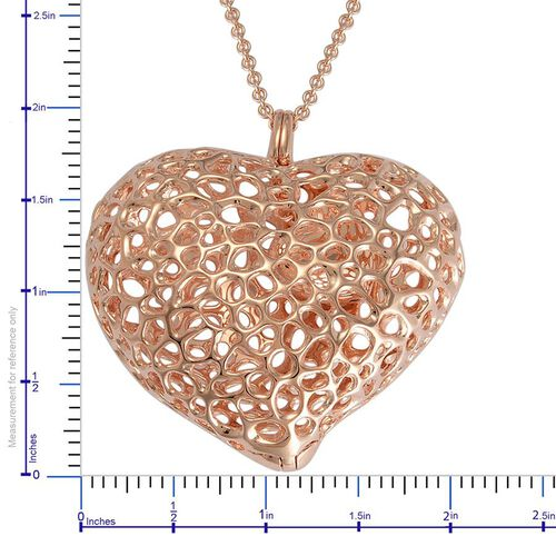 RACHEL GALLEY Rose Gold Overlay Sterling Silver Amore Heart Pebble Lattice Necklace (Size 30), Silver wt 30.00 Gms.