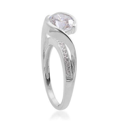 J Francis - Sterling Silver (Rnd) Ring Made with SWAROVSKI ZIRCONIA 2.176 Ct.