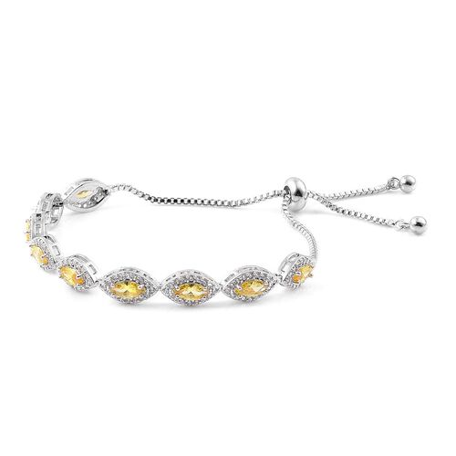 AAA Simulated Yellow Sapphire and Simulated White Diamond Adjustable Bracelet (Size 6.5-9) in Silver Tone
