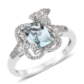 Designer Inspired-AAA Rare Size Espirito Santo Aquamarine (Cush 9X7 ), Natural Cambodian Zircon Ring in Platinum Overlay Sterling Silver 2.249 Ct.