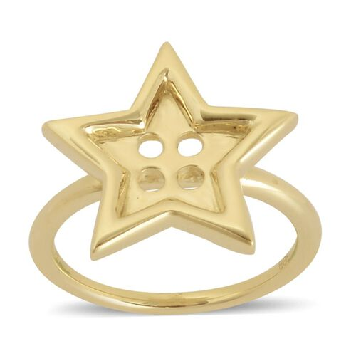 LucyQ Star Button Ring in Yellow Gold Overlay Sterling Silver 4.55 Gms.