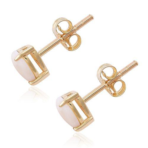 9K Yellow Gold 1.25 Ct. AA Australian White Opal Stud Heart Earrings
