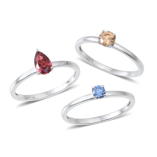 Set of 3 - Platinum Overlay Sterling Silver Solitaire Ring Made with Red, Yellow and Blue SWAROVSKI ZIRCONIA 1.520 Ct.