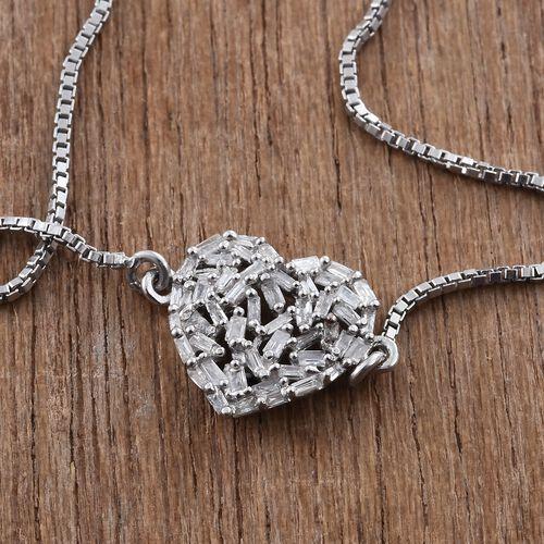 GP Diamond (Bgt), Kanchanaburi Blue Sapphire Adjustable Heart Bracelet (Size 6.5 to 9) in Platinum Overlay Sterling Silver 0.270 Ct.