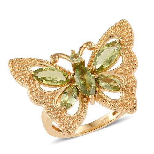 Hebei Peridot (Mrq) Butterfly Ring in 14K Gold Overlay Sterling Silver 2.250 Ct. Silver wt 5.25 Gms.