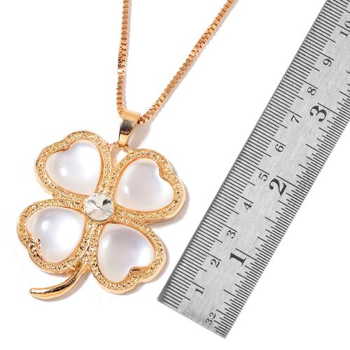 Simulated White Cats Eye and White Austrian Crystal Flower Pendant With Chain (Size 30) in Gold Tone