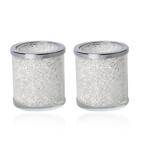 Set of 2 - White Austrian Crystal and Glass Double Layer Candle Holder ( Size 6.5x6 Cm)