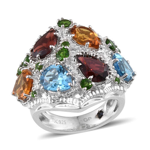 GP Electric Swiss Blue Topaz (Pear), Mozambique Garnet, Citrine, Russian Diopside and Kanchanaburi Blue Sapphire Ring in Platinum Overlay Sterling Silver 8.200 Ct.