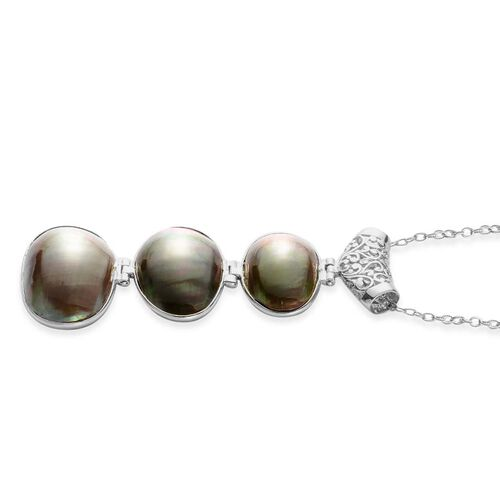 Shell Pendant in Silver Tone with Stainless Steel Chain