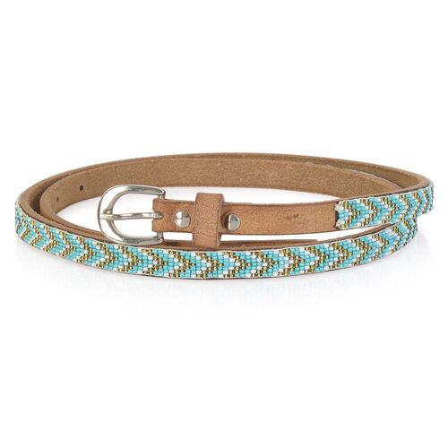 Genuine Leather Handmade Turquoise, Golden and White Colour Seed Beaded Belt (Size 110x1.25 Cm)
