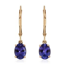 14K Yellow Gold 2.00 Carat AA Tanzanite Oval Solitaire Lever Back Earrings.
