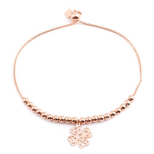 Rose Gold Overlay Sterling Silver Adjustable Four Leaf Clover Charm Bracelet (Size 6 to 7.5), Silver wt 5.90 Gms.