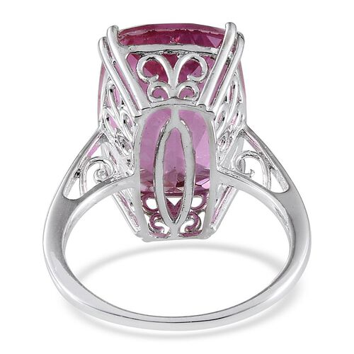 Kunzite Colour Quartz (Cush) Ring in Platinum Overlay Sterling Silver 15.000 Ct.