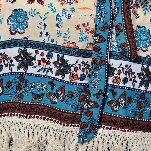 Beige, Blue and Multi Colour Floral, Leaves and Butterfly Pattern Apparel with Adjustable Waistband (Size 90X70 Cm)