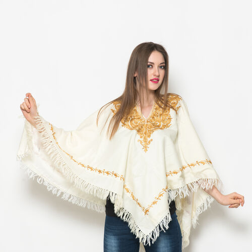 Hand Embroidered Paisley Pattern Kashmiri Cream Woollen Poncho - One Size for all.