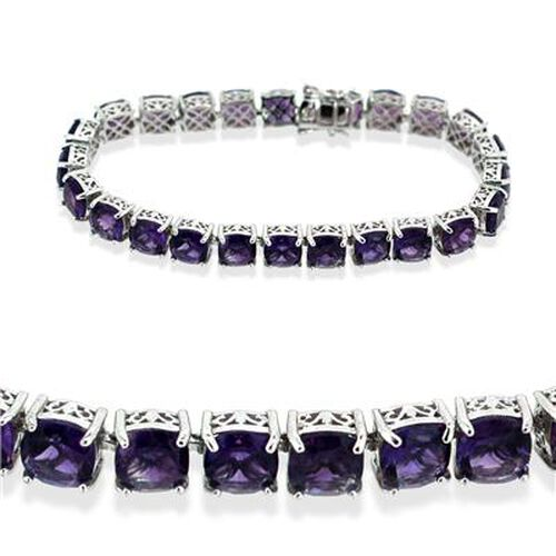 AAA Amethyst (Cush) Bracelet in Rhodium Plated Sterling Silver (Size 7.5) 30.000 Ct.