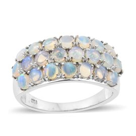 Australian White Opal (Rnd) Ring in Platinum Overlay Sterling Silver 1.500 Ct.